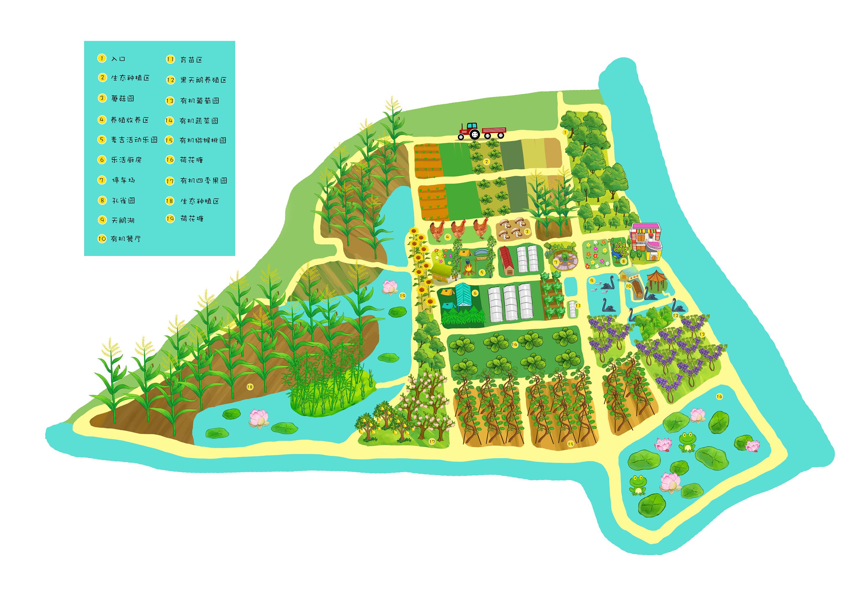 安徽麦吉农场手绘地图