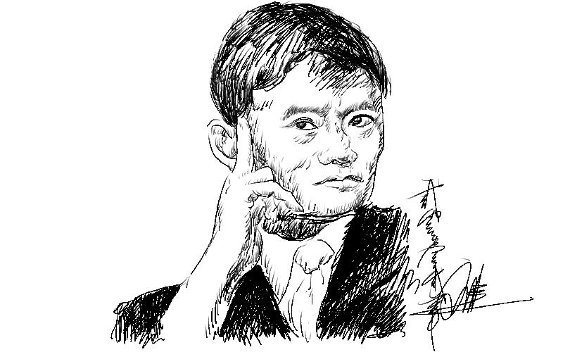 第一次用手绘板,练习稿就画了张名人头像.