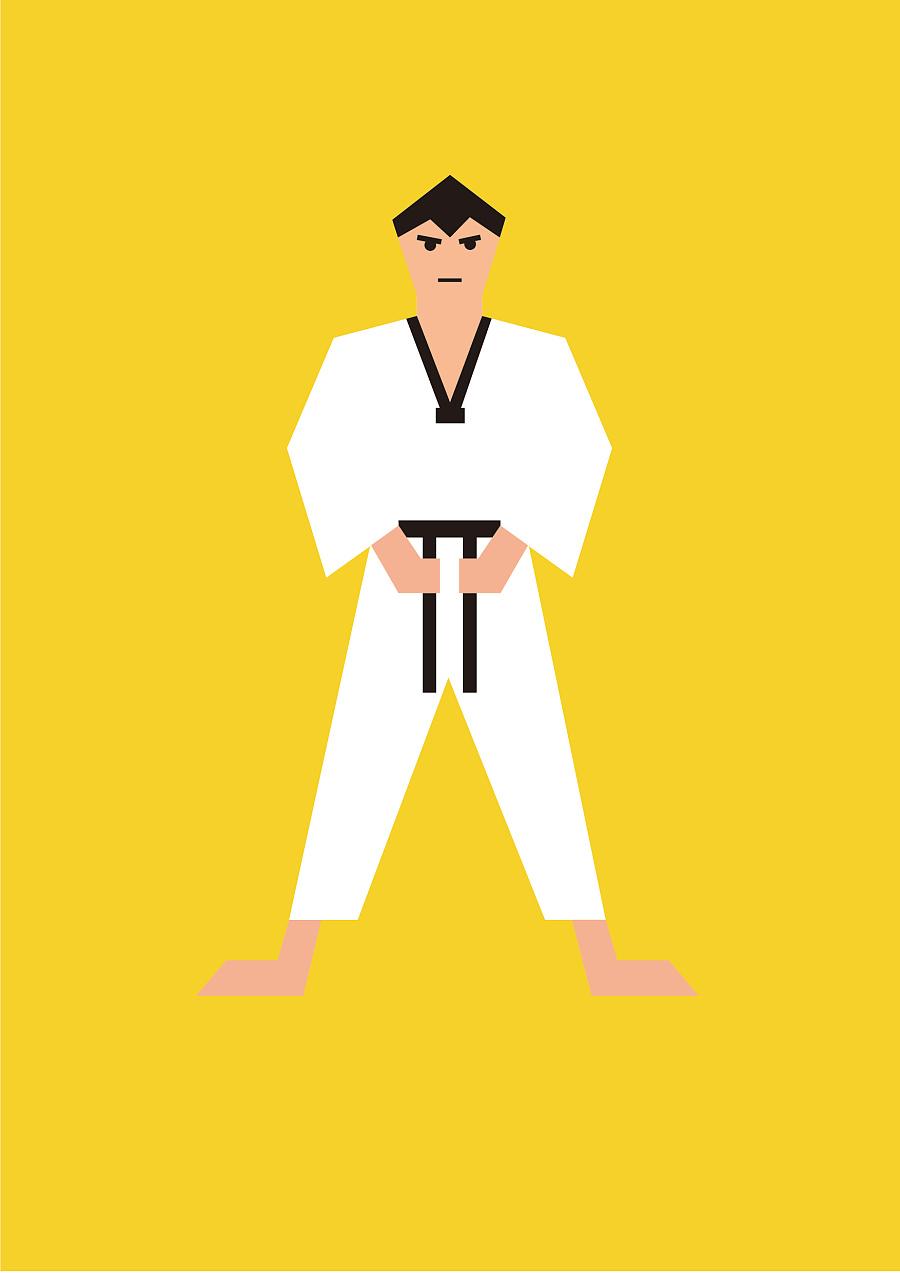 跆拳道人物扁平插画