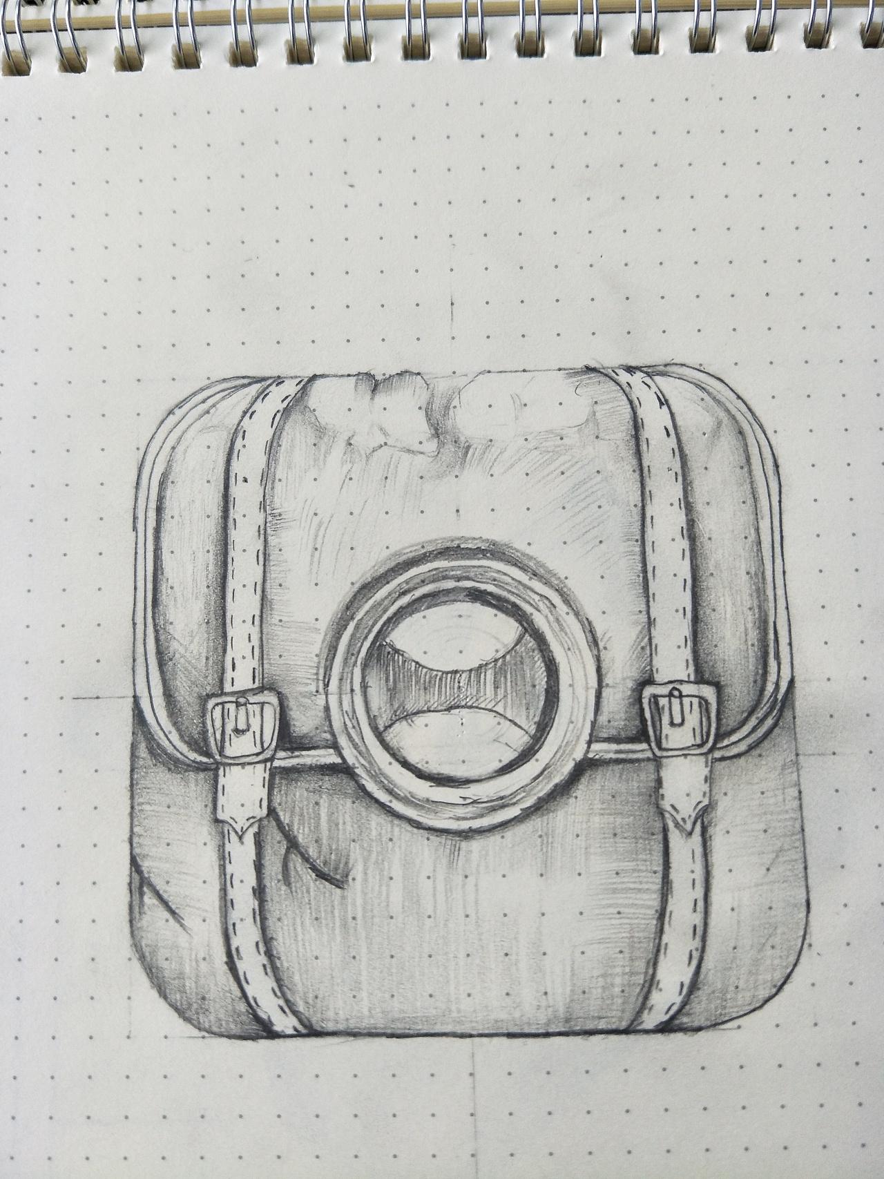 手绘背包线描图案