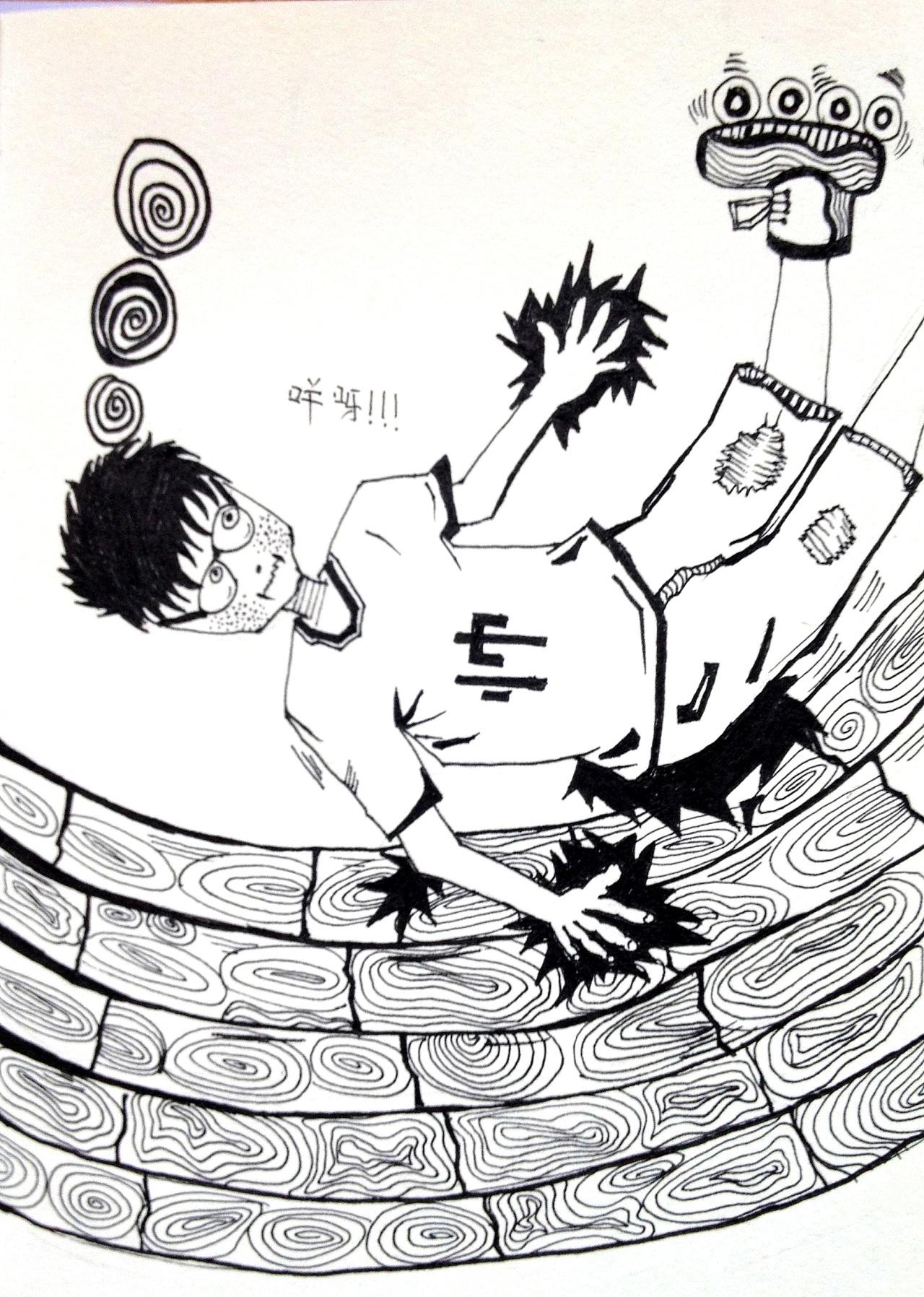 黑白手绘插画-小溪溪