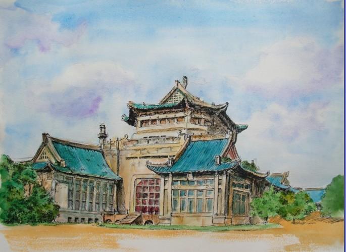 武汉大学手绘地图|插画|其他插画|petezheng - 原创