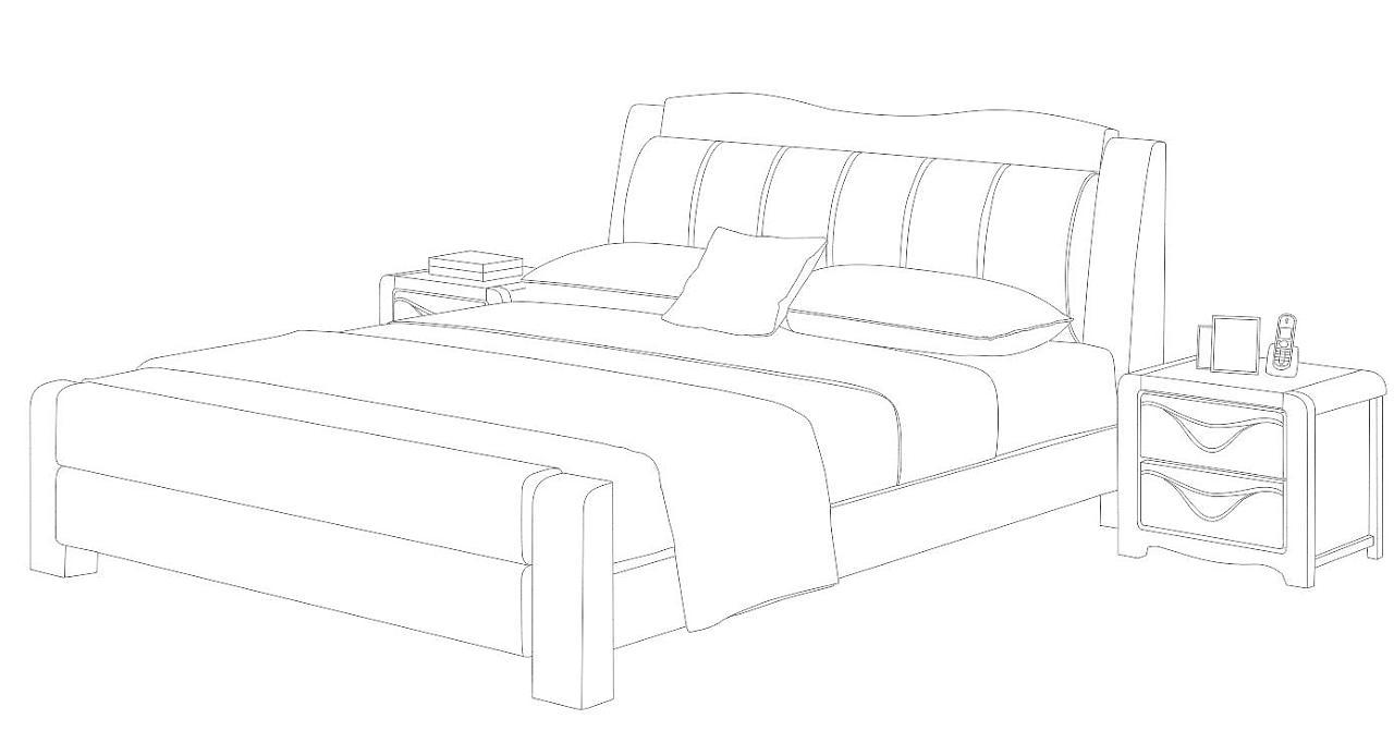 床简笔画简单