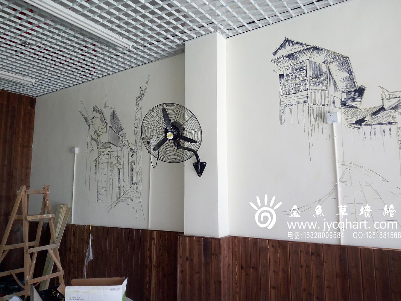 火锅店墙绘,火锅串串墙绘,墙绘,手绘,插画