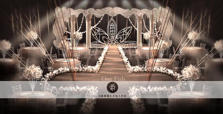 【婚礼手绘】电脑手绘香槟色厅内效果图