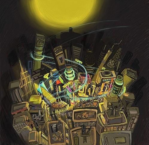 手绘黑夜城市插画