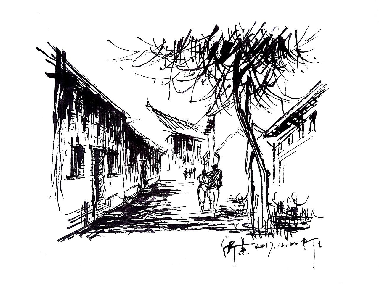 速写建筑阿王速写风景钢笔画