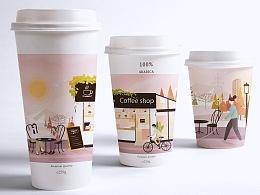 粉色咖啡包装插画