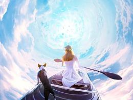 合成  海报   梦幻天空    云