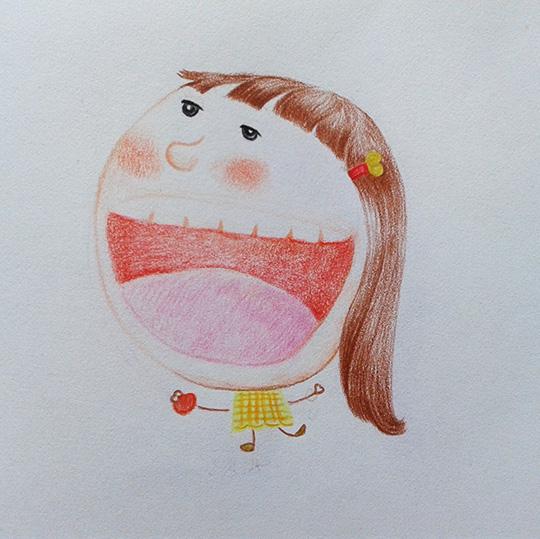 彩铅手绘 嘴巴张大aaa|儿童插画|插画|he小禾