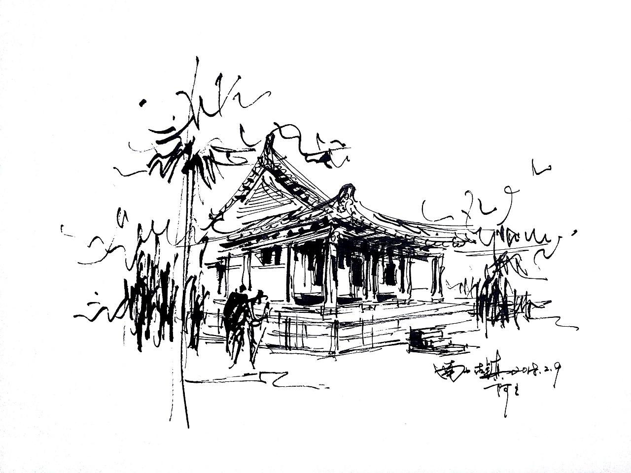 阿王速写建筑风景钢笔画