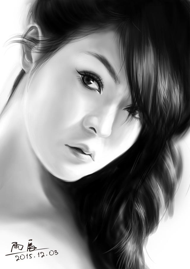 写实美女手绘