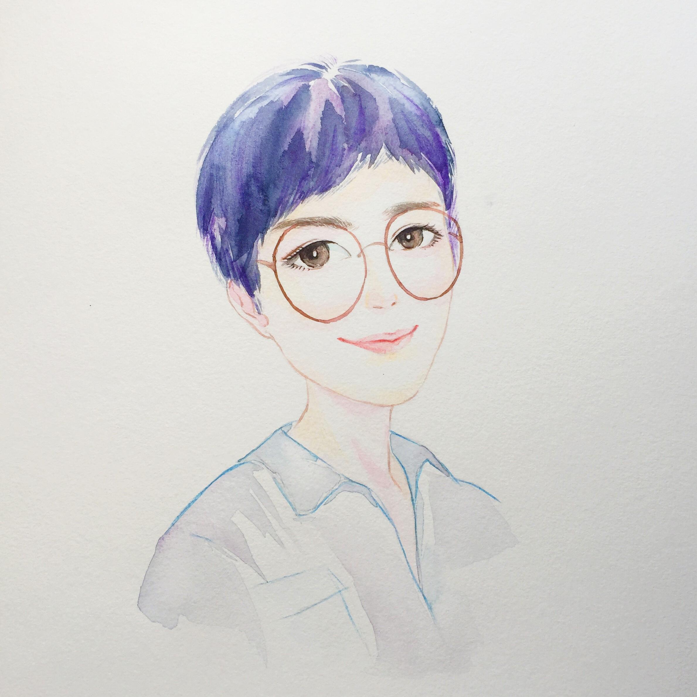 水彩手绘头像|纯艺术|水彩|moniccat - 原创作品