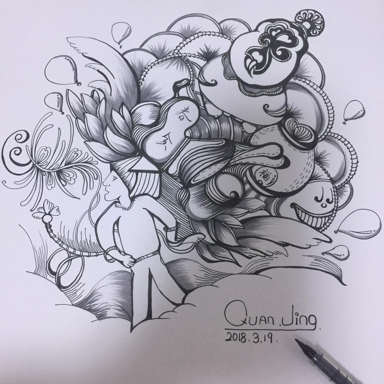创意涂鸦 黑白线条
