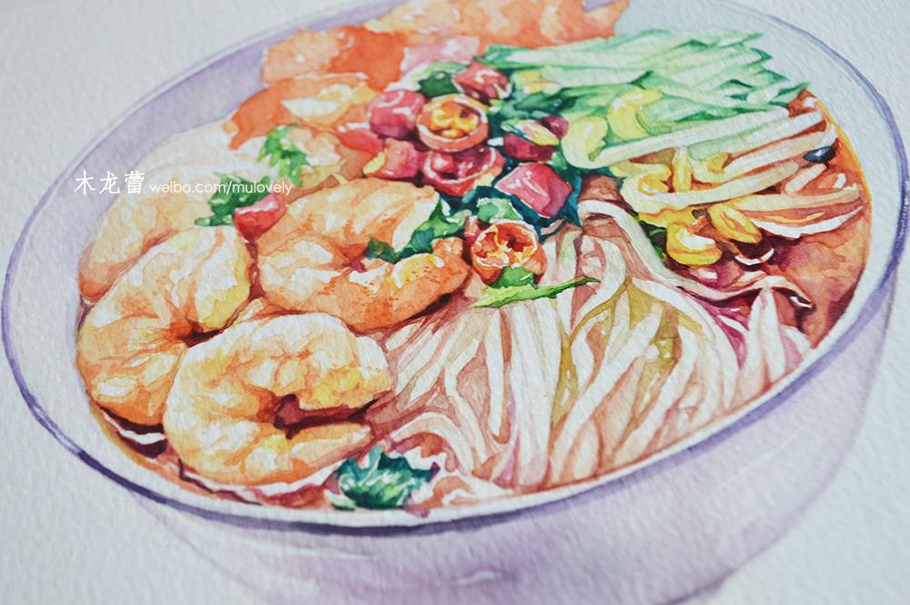 手绘水彩虾仁面 爱上绘画食物的乐趣