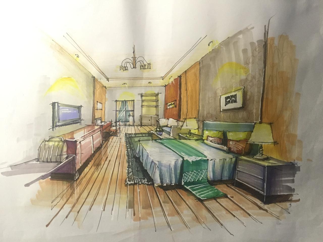 大二手绘效果图|空间|室内设计|tjtj03 - 原创作品