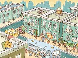 绘本插图 街角