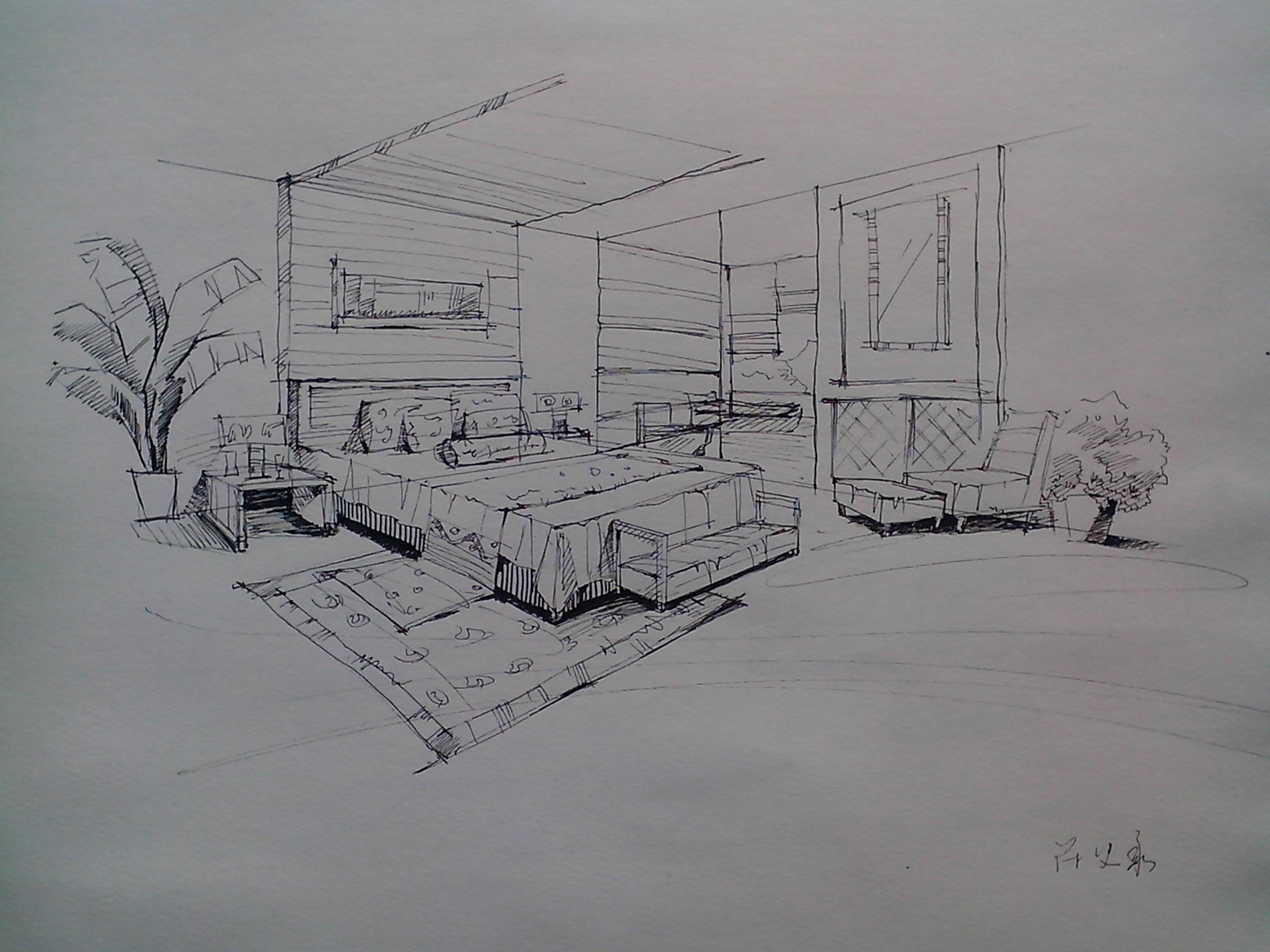 简单空间带家具室内手绘练习.