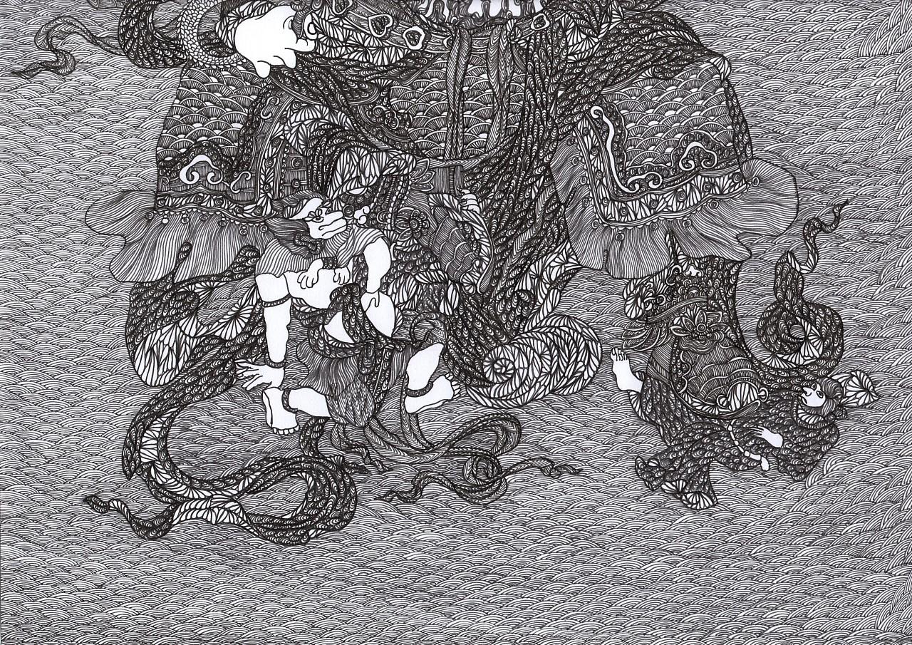 佛教四大天王|纯艺术|钢笔画|ywl123 - 原创作品