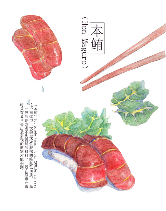 王不辣手绘水彩 浮世寿司系