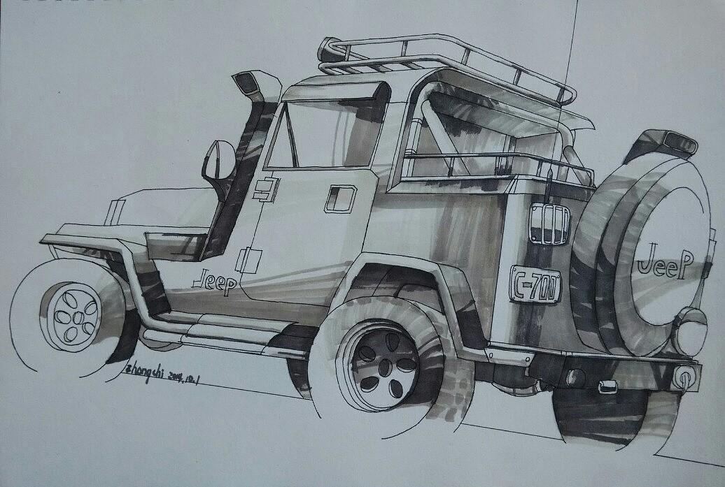 马克笔 手绘 车