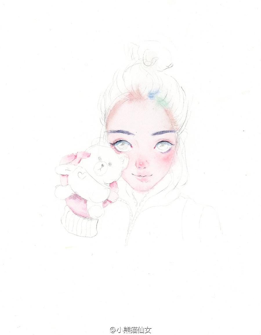 【小熊猫】水彩手绘人物水彩教程人物卡通头像手绘水彩步骤你眼睛里有