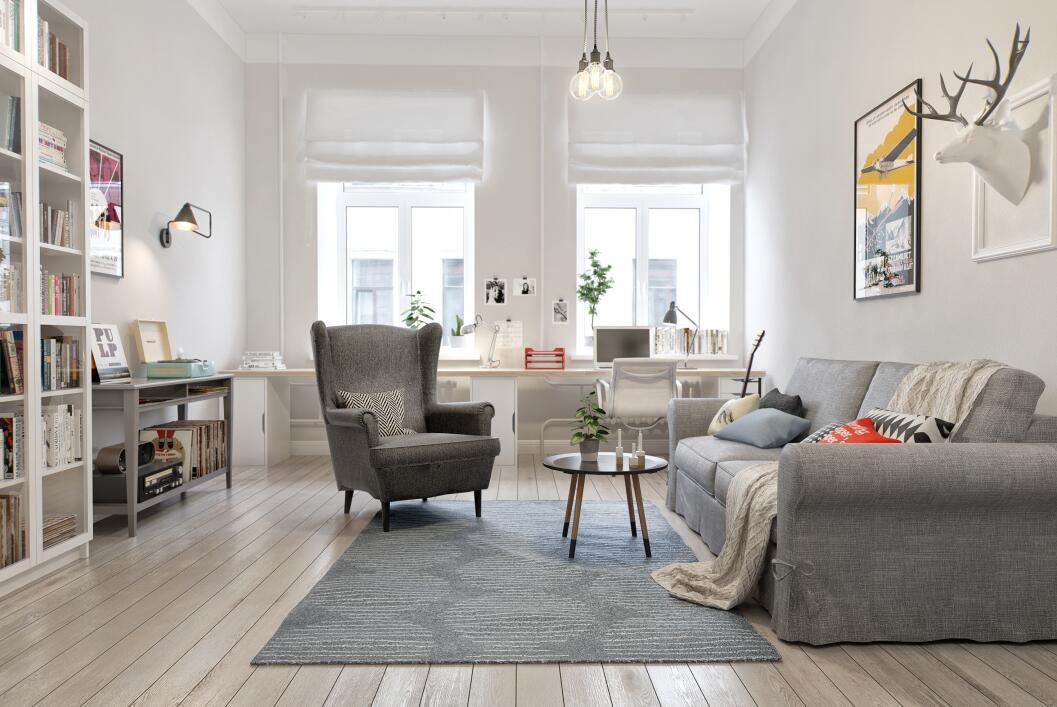 今天为大家分享一组简约北欧风格,把小户型充分利用,以灰白的家具点缀图片