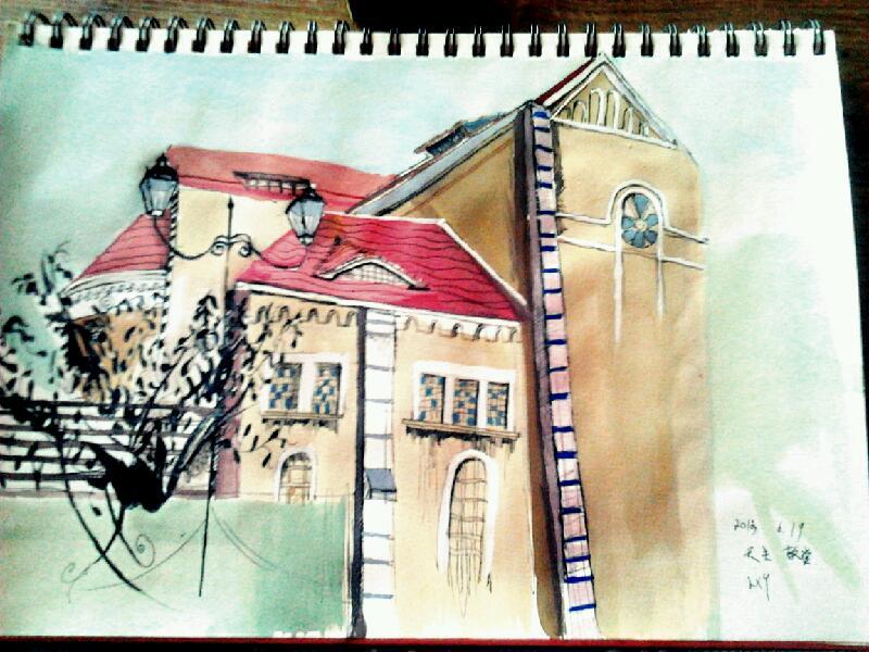 建筑物彩铅手绘