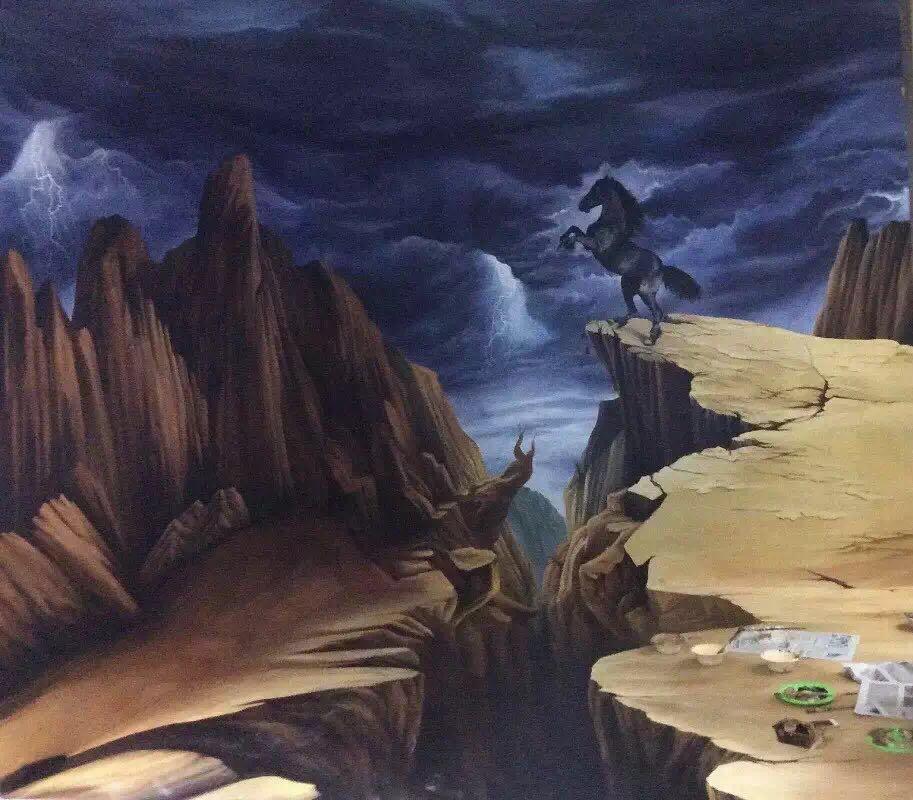 手绘大峡谷3d立体画