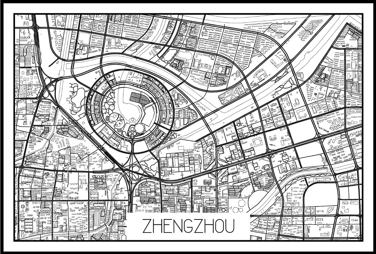 地图黑白涂鸦,郑州市东区