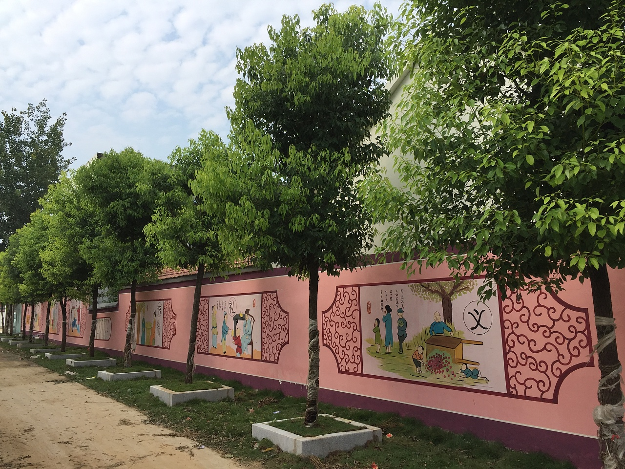 新农村围墙彩绘,文化墙绘设计,乡村墙体画