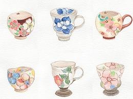 水彩日式杯具