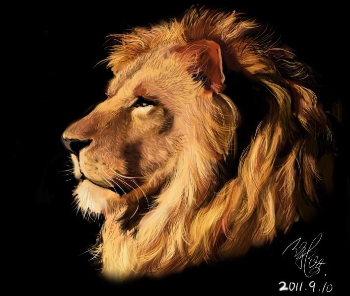 狮子侧面简笔画