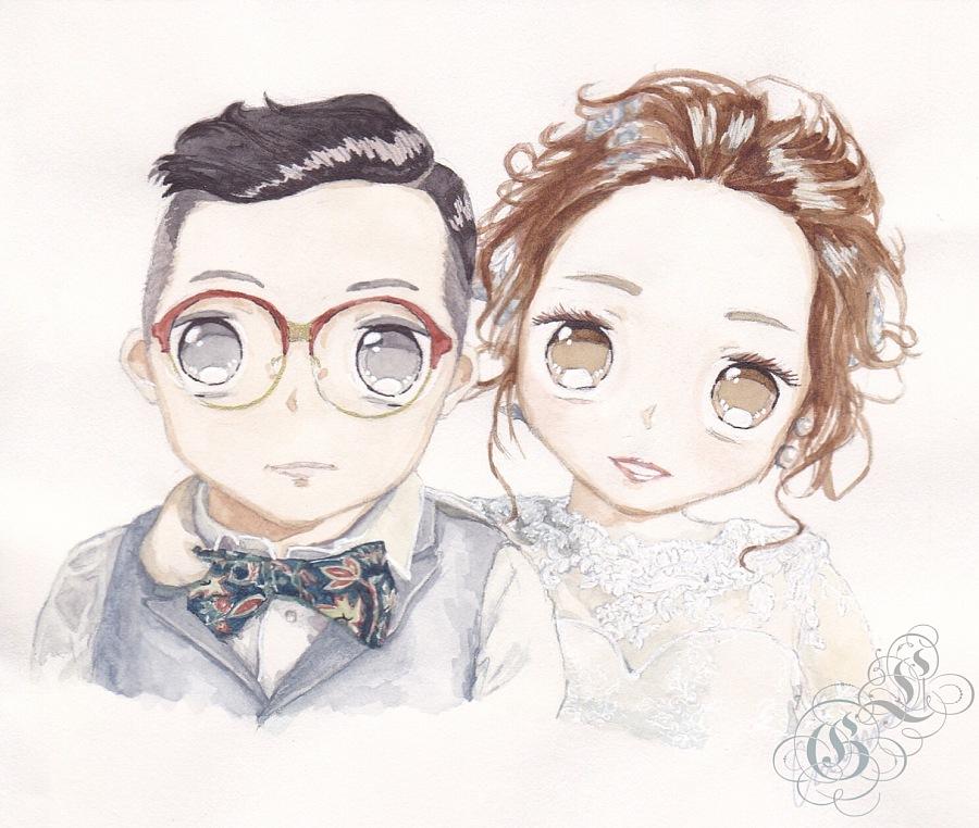 原创作品:婚礼纸本水彩手绘