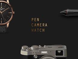 UI写实ICON-PEN-CAMERA-WATCH
