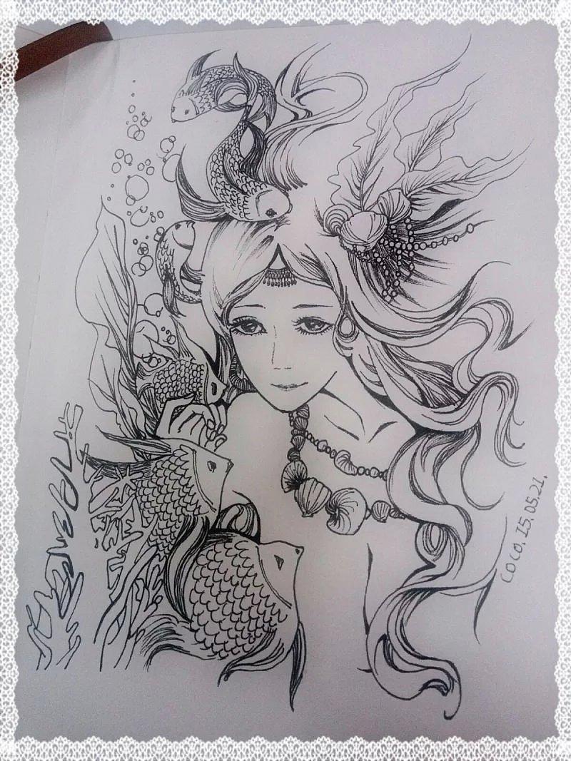原创作品:手绘人物 黑白