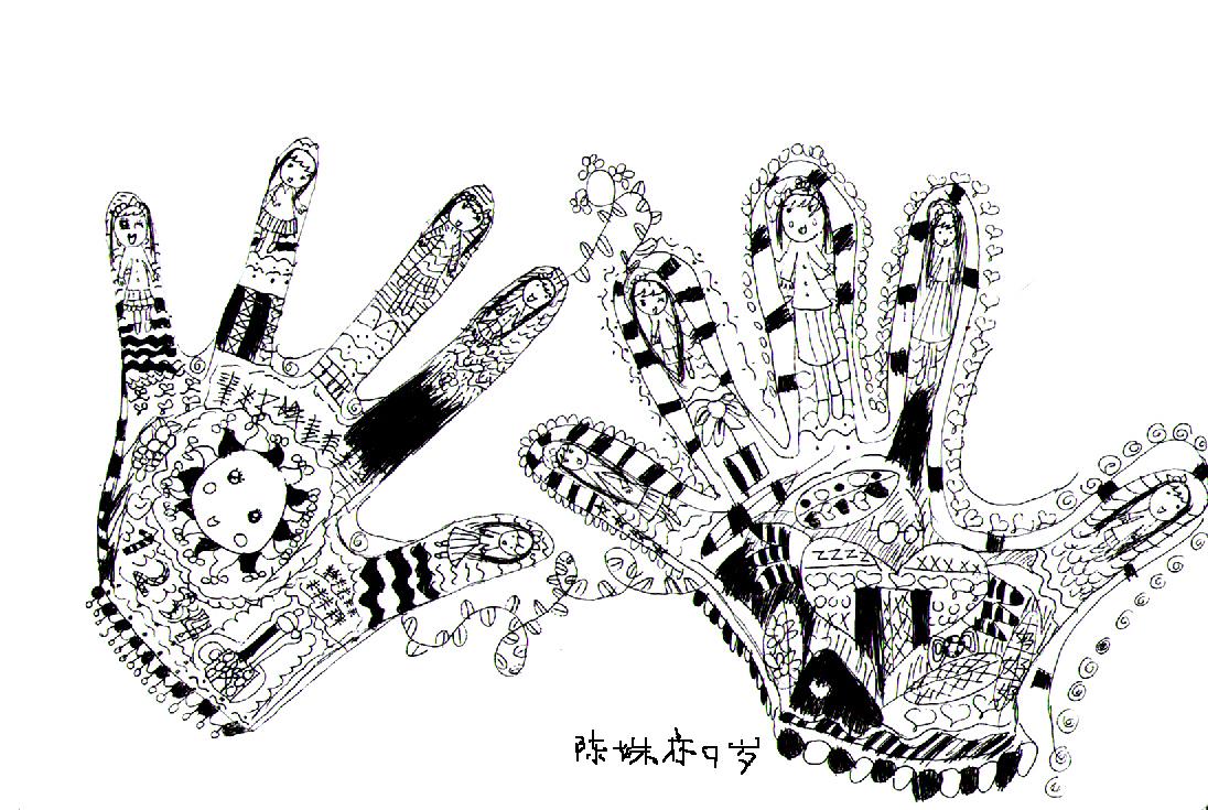 小学生装饰黑白画      图片
