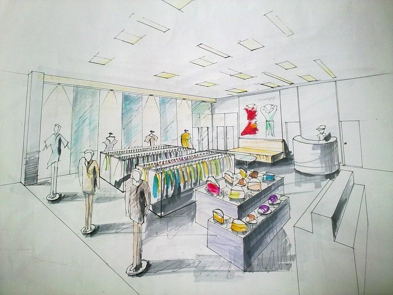 手绘服装店效果图大全室内线稿