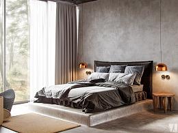 独爱灰调子,冰冷的水泥灰配上暖色的原木色家具,大气