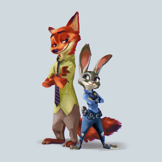 兔朱迪和狐尼克|绘画习作|插画|lp357141055图片