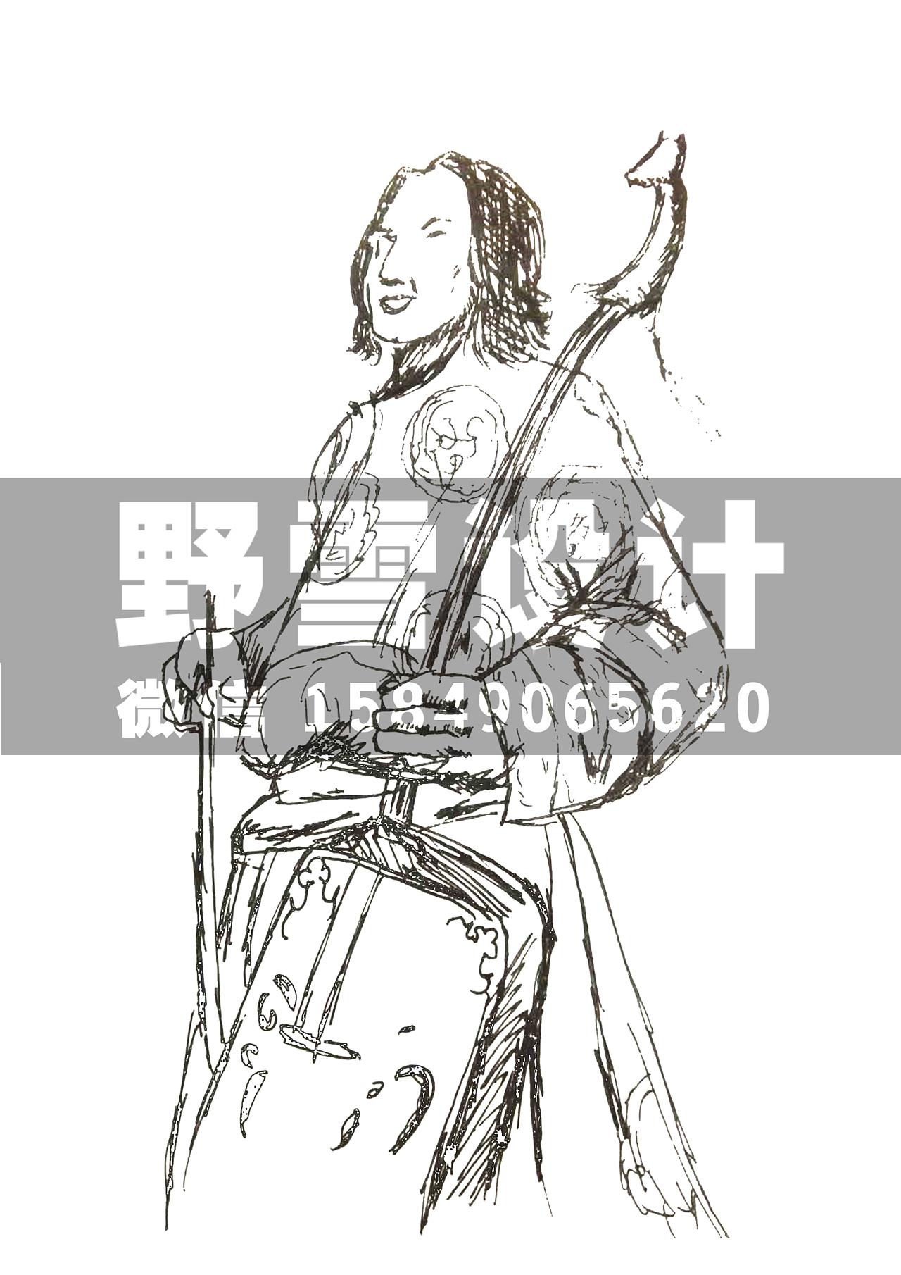 蒙古人马头琴图片