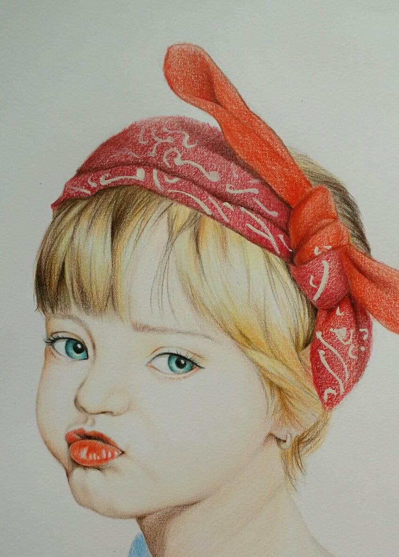 彩铅小女孩肖像画