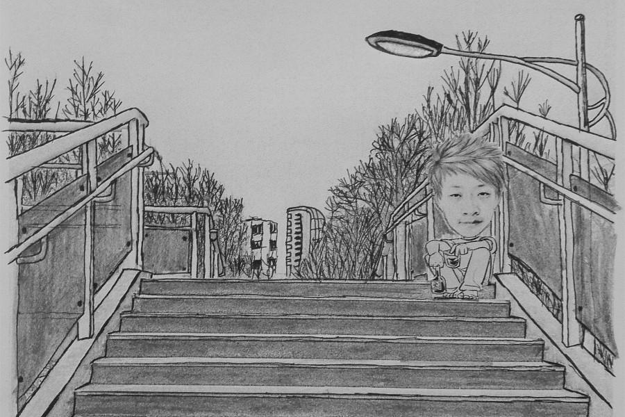 手绘河北大学著名建筑景点