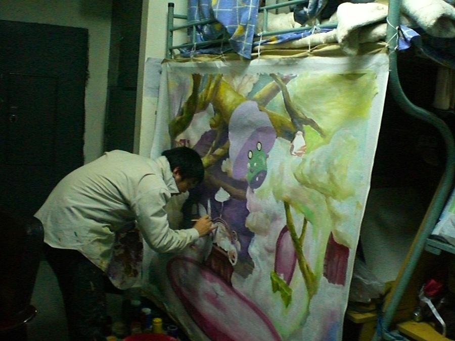大学生做的各种墙绘、丙烯画v丙烯(老作品翻箱清超美女图片