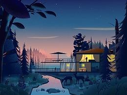 插画森林建筑