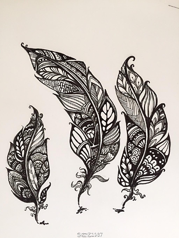 羽毛图片手绘黑白