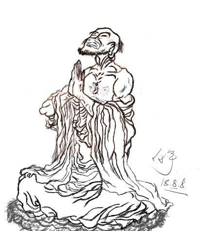 初次手绘板线稿-达摩