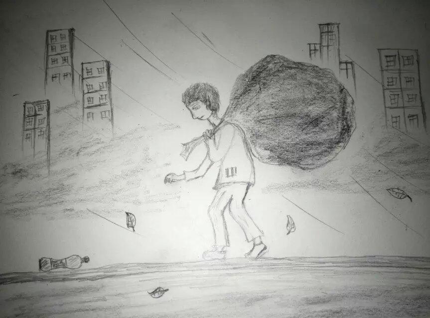 日本手绘小清新插画 铅笔黑白