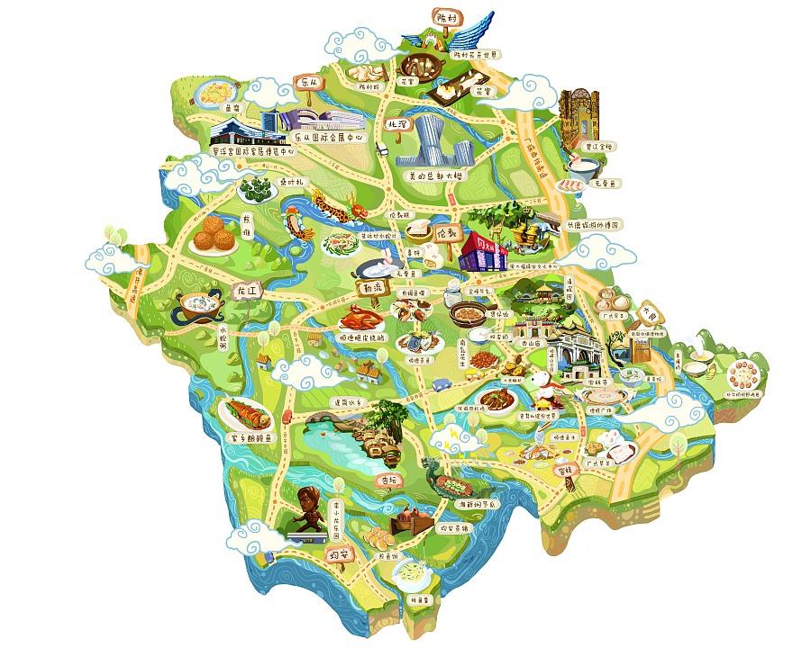 顺德美食旅游地图|商业插画|插画|ipip