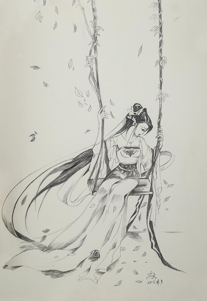 铅笔手绘|插画|插画习作|墨铭水犹寒 - 临摹作品